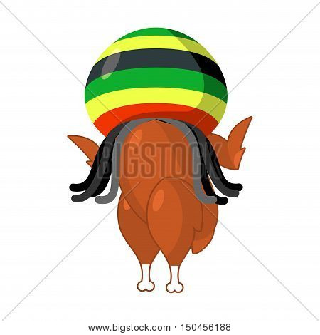 Rasta Turkey. Reggae Takes And Roasted  Fowl. Food For Rastafarians. Fried Chicken Hat. Jamaican Wil