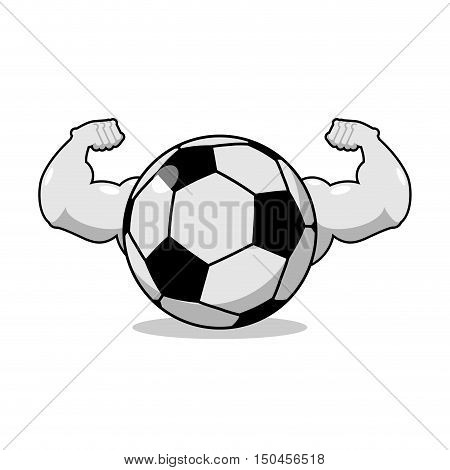 Strong Football. Powerful Gaming Accessory. Bodybuilding Big Hands. Strong Athlete Soccer Ball