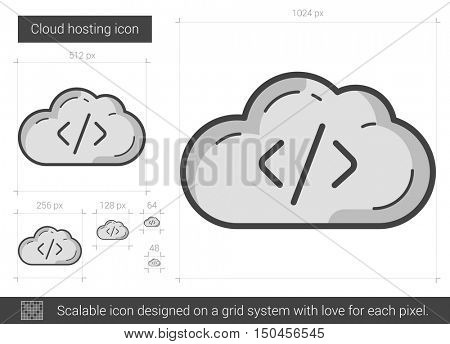 Cloud hosting vector line icon isolated on white background. Cloud hosting line icon for infographic, website or app. Scalable icon designed on a grid system.
