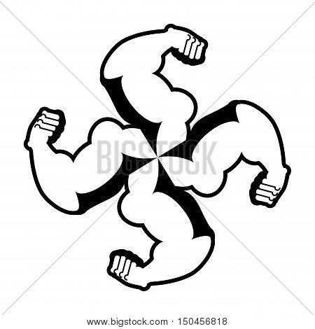 Strong Swastika. Logo For Aggressive Fighters. Hands Bodybuilder. Sign For Invasive Radicals. Symbol