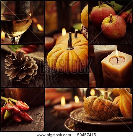 Restaurant series. Collage of autumn place setting. Thanksgiving dinner. Fall season fruit pumpkins plates wine and candles. Thanksgiving dinner