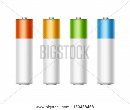 Vector Set of White Golden Yellow Red Blue Green Glossy Alkaline AA Batteries Of Diffrent Color for branding Close up Isolated on White background