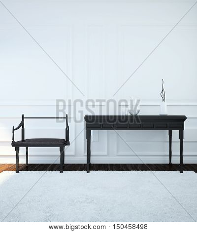 Image of the interior with furniture done in the Gothic style. 3d illustration