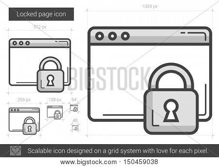 Locked page vector line icon isolated on white background. Locked page line icon for infographic, website or app. Scalable icon designed on a grid system.