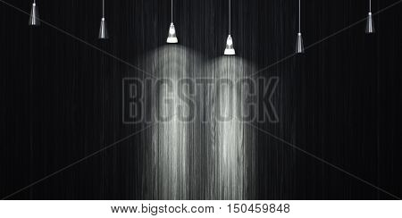 Glowing lamp on the wall background decorated with ebony. 3d illustration