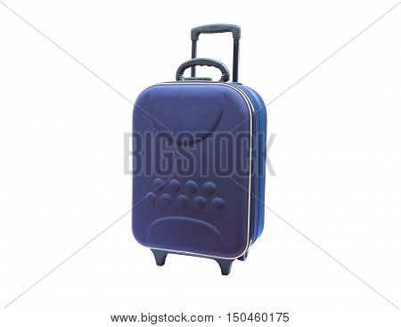 blue suitcases isolated on white background.Ideal for travel
