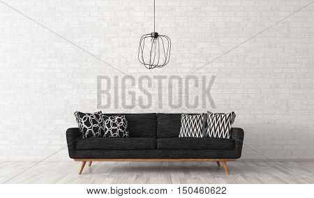 Interior Of Living Room With Sofa Over Brick Wall 3D Rendering