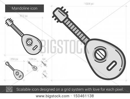 Mandoline vector line icon isolated on white background. Mandoline line icon for infographic, website or app. Scalable icon designed on a grid system.