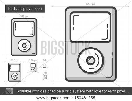 Portable player vector line icon isolated on white background. Portable player line icon for infographic, website or app. Scalable icon designed on a grid system.