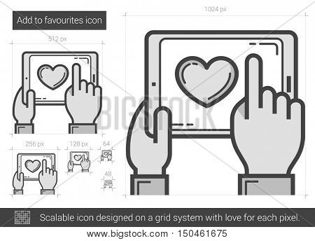 Add to favourites vector line icon isolated on white background. Add to favourites line icon for infographic, website or app. Scalable icon designed on a grid system.