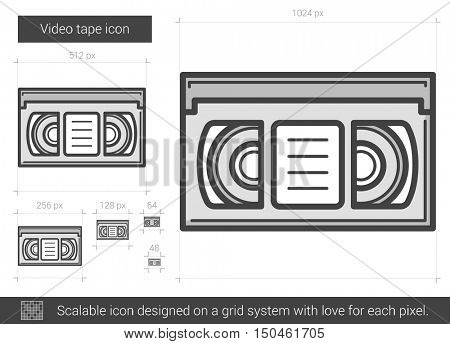 Video tape vector line icon isolated on white background. Video tape line icon for infographic, website or app. Scalable icon designed on a grid system.