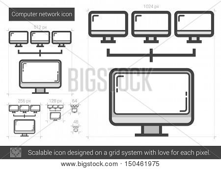 Computer network vector line icon isolated on white background. Computer network line icon for infographic, website or app. Scalable icon designed on a grid system.