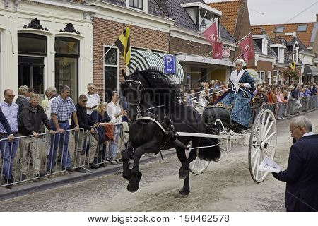 WORKUM, THE NETHERLANDS - SEPTEMBER 28, 2016: An female gig driver, dressed in period Frisian costume, driving a Frisian carriage horse through a street in the city of Workum, the Netherlands.