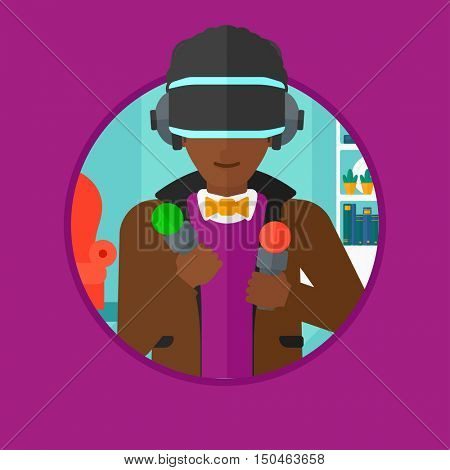 An african-american man wearing virtual reality headset and holding motion controllers in hands. Man playing video games at home. Vector flat design illustration in the circle isolated on background.