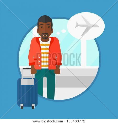 An african-american man frightened by future flight. Young man suffering from fear of flying. Phobia, fear of flying concept. Vector flat design illustration in the circle isolated on background.