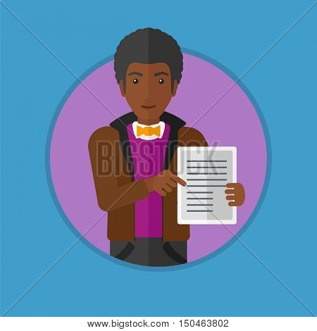 An african-american real estate agent holding house contract or mortgage application form. Young man showing ownership documents. Vector flat design illustration in the circle isolated on background.