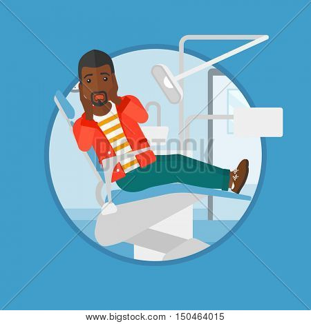 An african-american frightened patient at dentist office. Scared young man in dental clinic. Afraid man sitting in dental chair. Vector flat design illustration in the circle isolated on background.