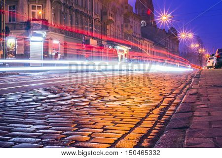 historical old Lviv in the evening night Lviv Ukraine Europe
