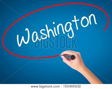 Women Hand Writing Washington  With Black Marker On Visual Screen