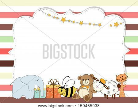 Pretty Frame On Color Lines , Template For Baby Shower Or Birthday Card