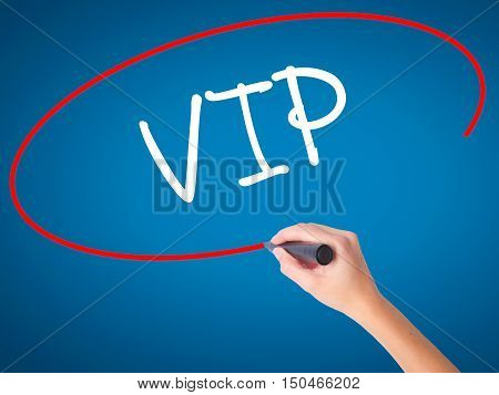 Women Hand Writing  Vip With Black Marker On Visual Screen