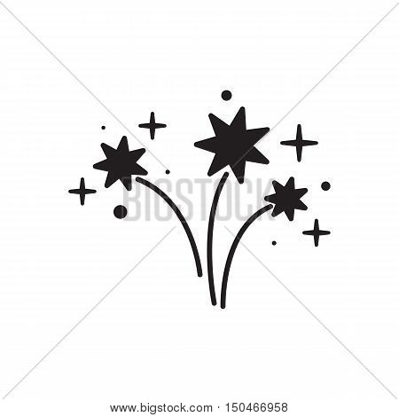 Colorful Bright Firework Isolated on White Background. Firework silhouette icon. Firework vector icon.