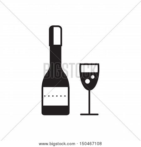 Champagne bottle and champagne glass.Conceptual vector illustration of sparkling champagne glasses. Champagne glass icon