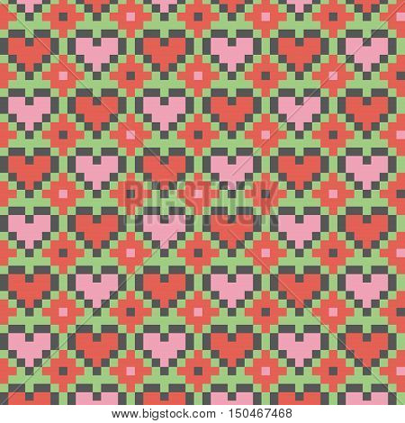 Pink heart seamless stitching pattern on a light green background. Pixel art seamless pattern in desaturated colors. Vector illustration
