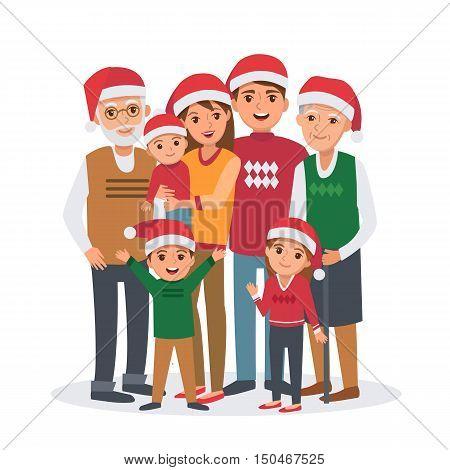 Big family vector illustration. Big family celebrates Christmas. Family portrait isolated on white background.