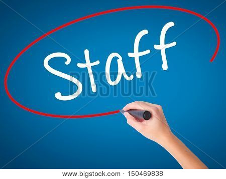 Women Hand Writing  Staff With Black Marker On Visual Screen