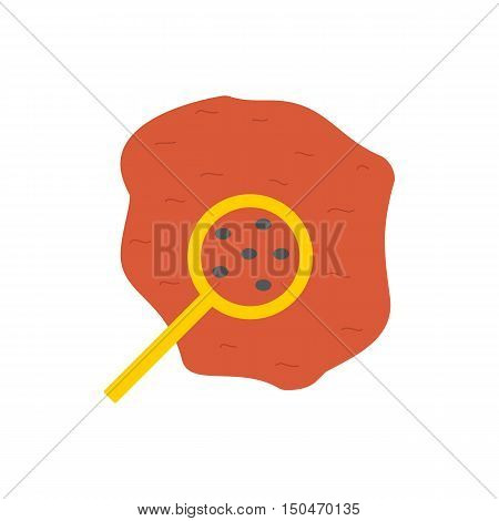 Vector illustration with flat drop of blood with magnifier. Red flat vector icon on white background. Medical exams tests science biology research. Microscopic organisms in blood concept