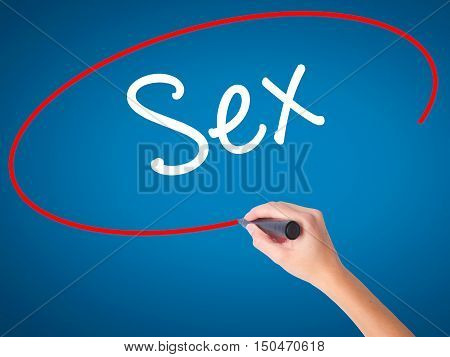 Women Hand Writing Sex With Black Marker On Visual Screen