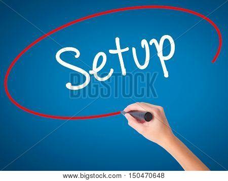 Women Hand Writing Setup  With Black Marker On Visual Screen