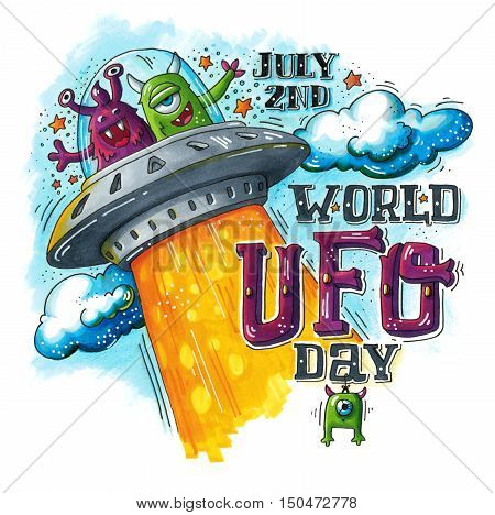 Hand drawn illustration for the World UFO day with two funny aliens in spaceship (flying saucer). July 2dn. This image can be used as a print on t-shirts and bags greeting card or as a poster.