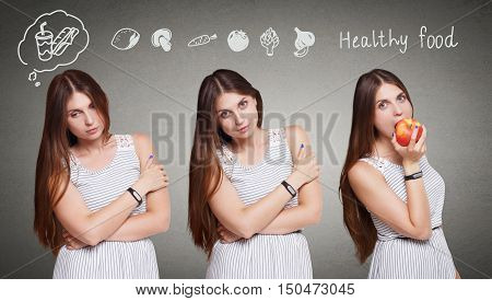 Choose healthy food, eat right, diet concept. Beautiful long-haired young woman with thinking cloud about fast food and vegetables decides to eat red apple. Healthy lifestyle. poster