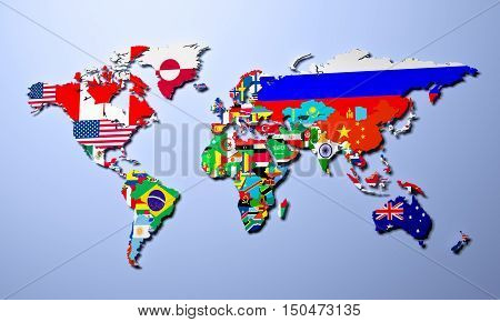 The World Map With All States And Their Flags 3D Render