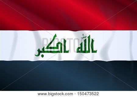 Wave version of the flag os the Arab country of Iraq