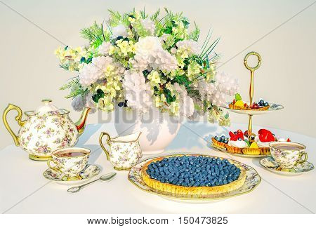 Afternoon tea. Bilberry pie, fruit and berries cakes, tea and bouquet of a jasmine.3D illustration
