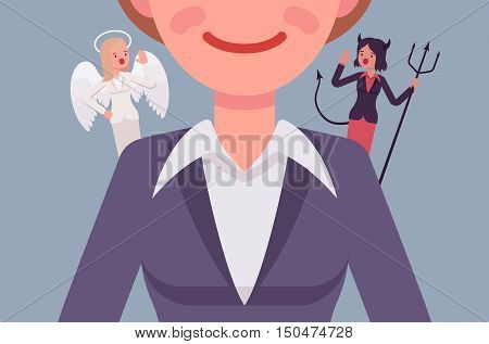 Angel and devil on the woman shoulders, suggesting. Cartoon vector flat-style concept illustration