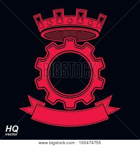 Vector industrial design element cog wheel with a coronet and decorative ribbon.