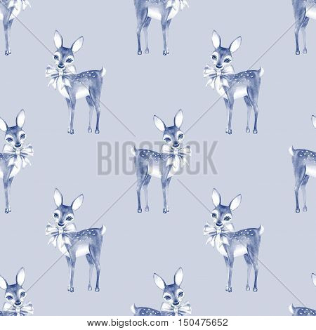 Pattern with Baby Deer. Hand drawn cute fawn. Seamless background 3