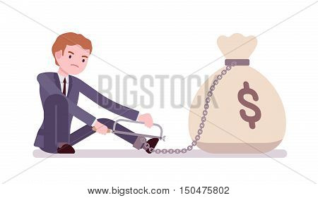Businessman chained with a giant heavy money sack trying to escape, sawing. Cartoon vector flat-style concept illustration