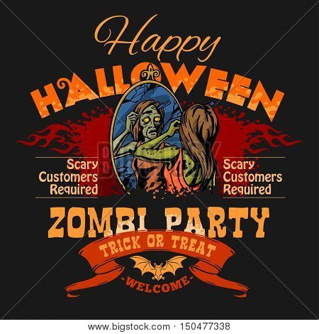 Zombie Party Flyer on dark background with Illustration of Female Zombie Girl