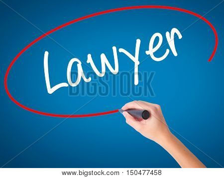 Women Hand Writing Lawyer With Black Marker On Visual Screen