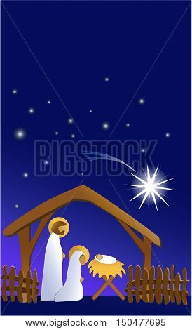 Christmas nativity scene with holy family - vector illustration