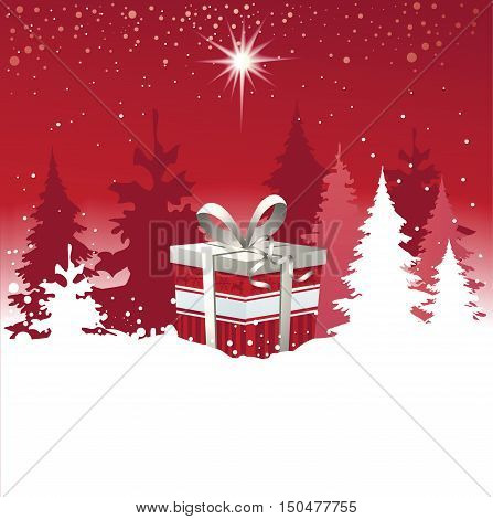 Christmas background with Christmas gift - vector illustration