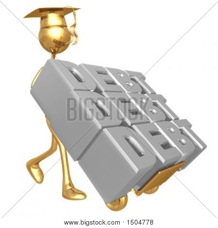 Golden Grad Stack Of Debt On Dolly Graduation Concept