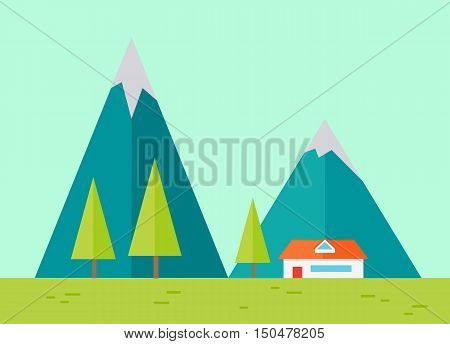 Vector illustration of mountain ridge. View of blue mountains with house. Mountains landscape, abstract blue panoramic view. Nature background. Isolated vector illustration.