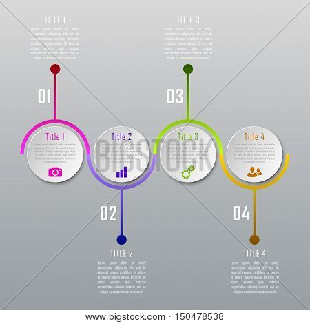 Four steps infographics. Infographic timeline template can be used for chart, diagram, web design, workflow layout