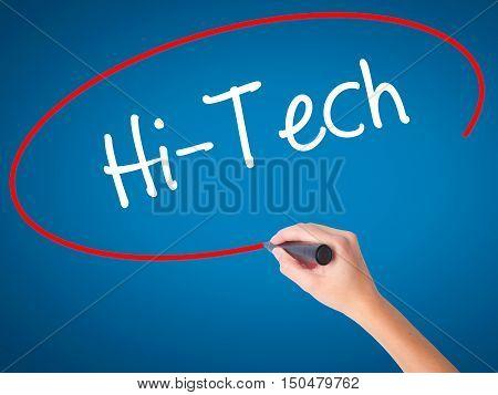Women Hand Writing Hi-tech With Black Marker On Visual Screen.